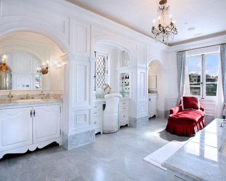 طراحی سنگ برای کف و دیوار حمام,دکوراسیون حمام های مدرن