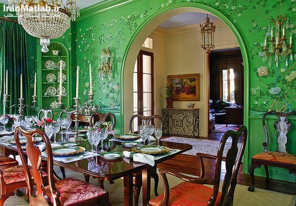 اتاق نهارخوری افسانه ای با رنگ سبز