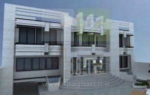 طرح سه بعدی نمای ساختمان