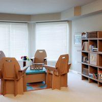 چیدمان فضای کلی اتاق با استفاده از مبلمان کارتنی
