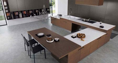 کابینت آشپزخانه به رنگ سفید, طراحی آشپزخانه با طرح چوب و رنگ سفید