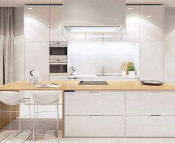 دکوراسیون آشپزخانه با طرح چوب و رنگ سفید