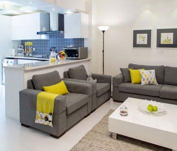 دکوراسیون زرد و خاکستری در خانه ۵۰ متری