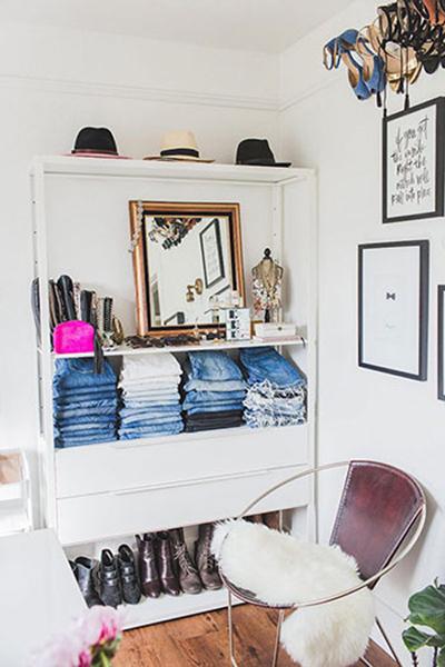 چیدمان کمدهای کوچک,قفسه هایی برای کیف و کفش