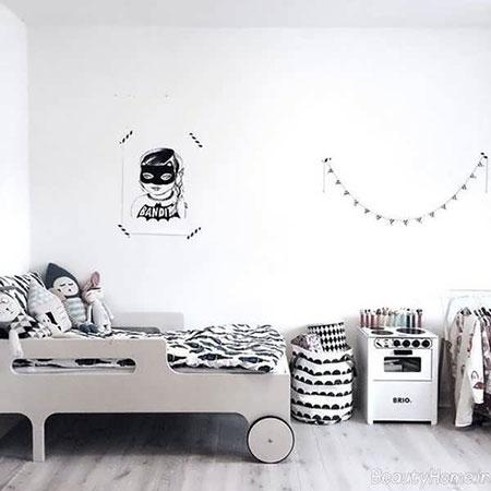 دکوراسیون اتاق کودک سفید رنگ زیبا و شاد